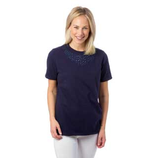 Select Woman T-shirt Floral, marinblå