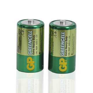 Green Cell batterier, R20 D, 2-pack