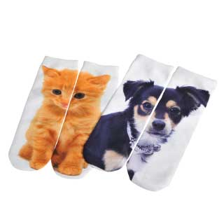 "Motivstrumpor ""Cat & dog"", 2 par"